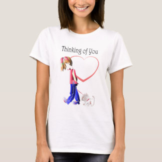 Missing You, cute Boy walking dog art T-Shirt