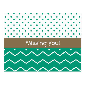 Missing You Emerald Chevrons and Polka Dots Postcard
