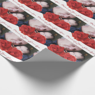Missing you grandpa photo roses Wrapping Paper