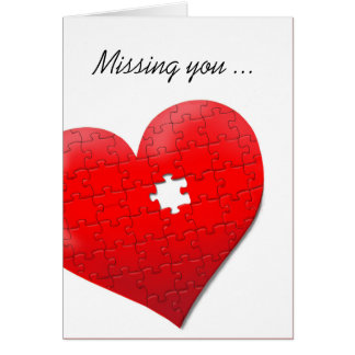 Missing you heart jigsaw puzzle card