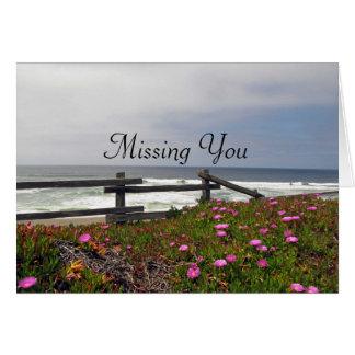 Missing You Ocean Flowers Note Card
