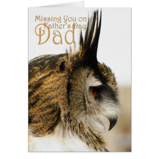 Missing you on father's day dad, Eagle Owl reflect Card