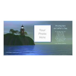 Missing You on Father's Day - Lighthouse Blue Photo Card Template