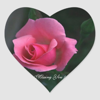 Missing You! Pink Rose, Heart Sticker