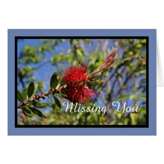 Missing You Red Flower Note Card