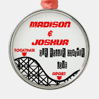 Missing You Roller Coaster Silver-Colored Round Ornament