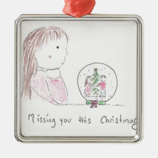 Missing You This Christmas Silver-Colored Square Ornament