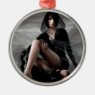 Missing You Veiled Goth Woman Silver-Colored Round Ornament