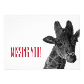 """Missing you"" with sad pencil drawn giraffe Card"
