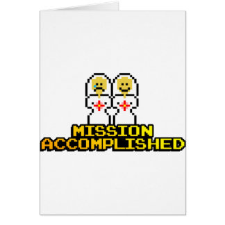 """Mission Accomplished"" Marriage (Lesbian, 8-bit) Card"
