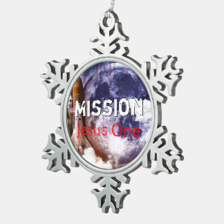 Mission Jesus One Snowflake Pewter Christmas Ornament