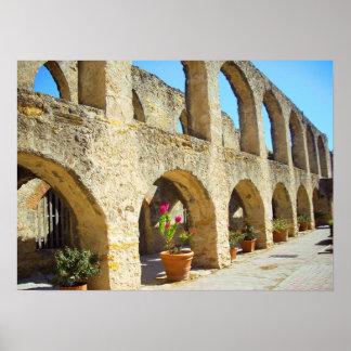 Mission San Jose convent arches, San Antonio, TX Poster