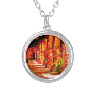 Mission San Juan Capistrano California Abstract Silver Plated Necklace