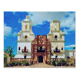 Mission San Xavier del Bac - Watercolor Poster