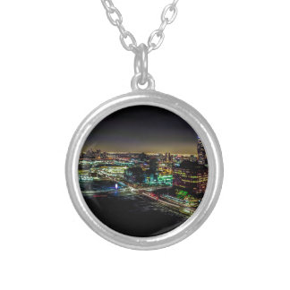 Mississauga, Ontario At Night Silver Plated Necklace