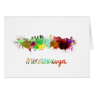 Mississauga skyline in watercolor card
