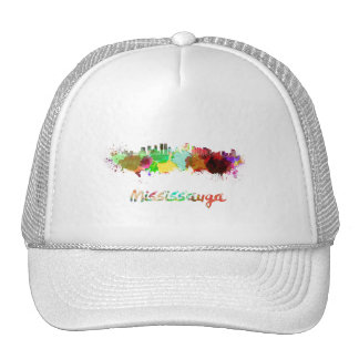 Mississauga skyline in watercolor trucker hat