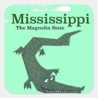 Mississippi Alligator vintage travel poster Square Sticker
