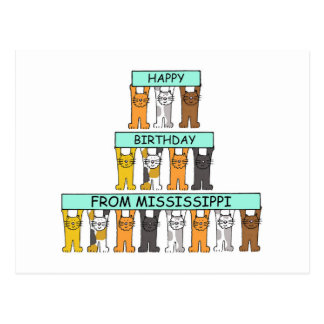 Mississippi Birthday Cats Postcard