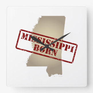 Mississippi Born - Stamp on Map Square Wall Clock
