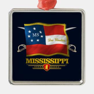 Mississippi Deo Vindice Silver-Colored Square Ornament
