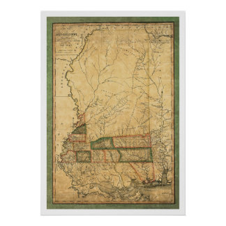 Mississippi Early Map by Melish 1820 Poster