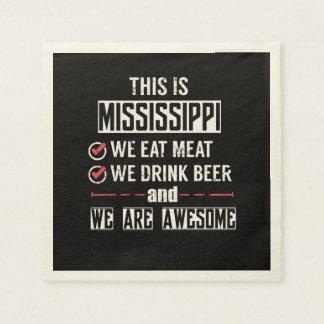 Mississippi Eat Meat Drink Beer Awesome Napkin
