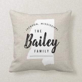 Mississippi Family Monogram State Throw Pillow
