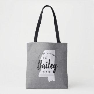 Mississippi Family Monogram State Tote Bag