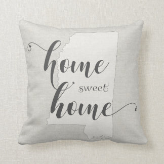 Mississippi - Home Sweet Home burlap-look Throw Pillow