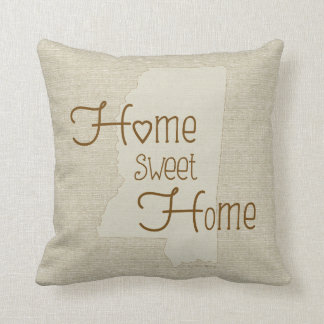 Mississippi-Home Sweet Home burlap-look w/name Throw Pillow