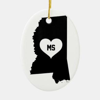 Mississippi Love Ceramic Ornament