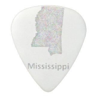 Mississippi map acetal guitar pick
