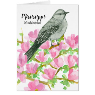 Mississippi Mockingbird Magnolia Flowers Card