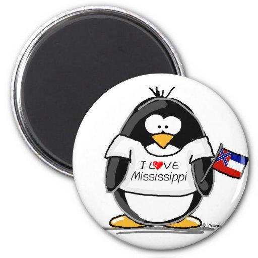 Mississippi penguin fridge magnet
