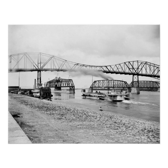 Mississippi River at Winona: 1880 Poster