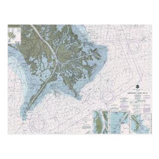 Mississippi River Delta LA MS chart postcard