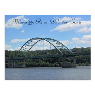 Mississippi River, Dubuque Iowa Bridge Postcard