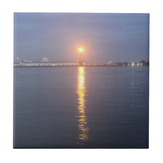 Mississippi River Sunrise Ceramic Tile