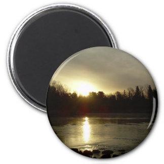 Mississippi river Sunrise reflection 2 Inch Round Magnet