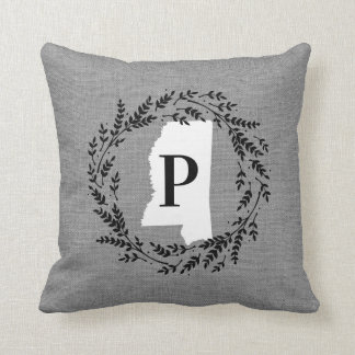 Mississippi Rustic Wreath Monogram Throw Pillow