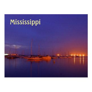 Mississippi sailboats in marina at dusk postcard