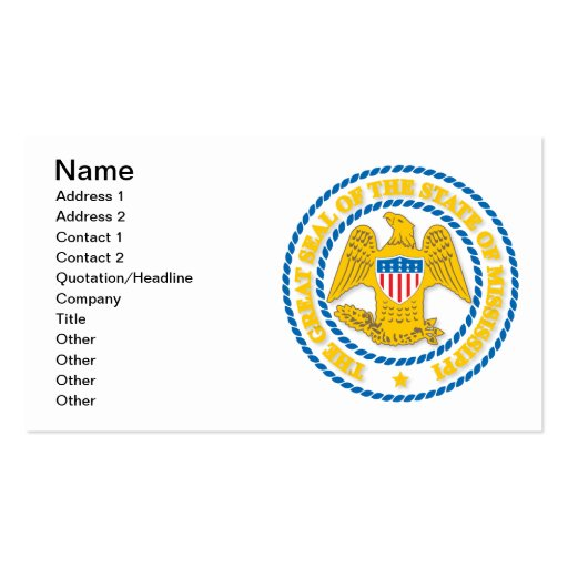 Mississippi seal business card template