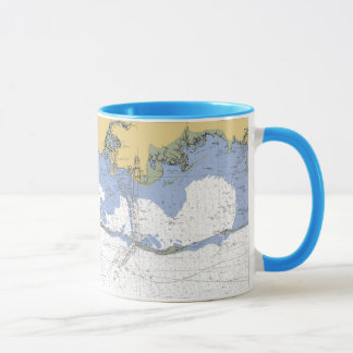 Mississippi Sound Biloxi Nautical Chart flags Mug
