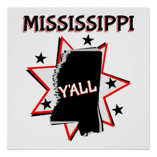 Mississippi State Y'all Poster