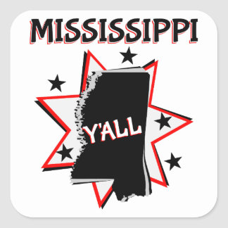 Mississippi State Y'all Square Sticker