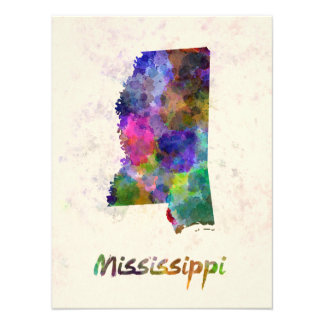 Mississippi U.S. state in watercolor Photo Art