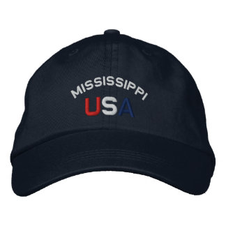 Mississippi USA Embroidered Navy Blue Hat