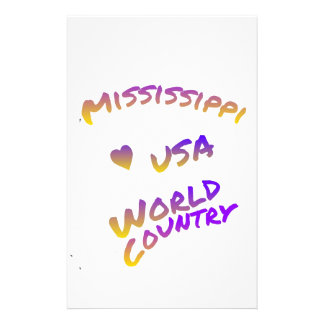 Mississippi usa world country, colorful text art stationery