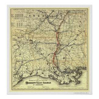 Mississippi Valley Railroad Map 1882 Poster